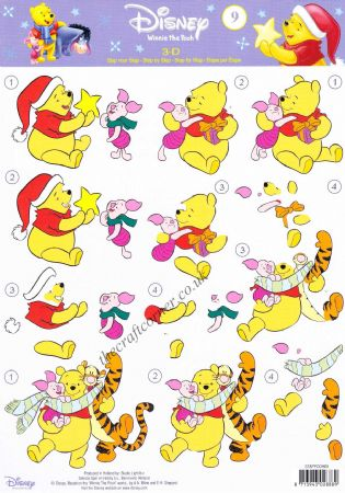 Winnie the Pooh 9 Christmas Fun with Winnie The Pooh, Piglet & Tigger 3d Decoupage Sheet.